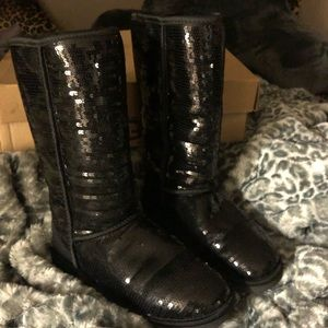 UGG Black Sparkle Tall Boot